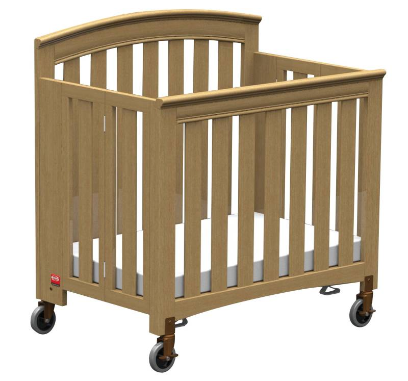 Pinnacle compact steel folding crib with 4 foam mattress for Double decker crib
