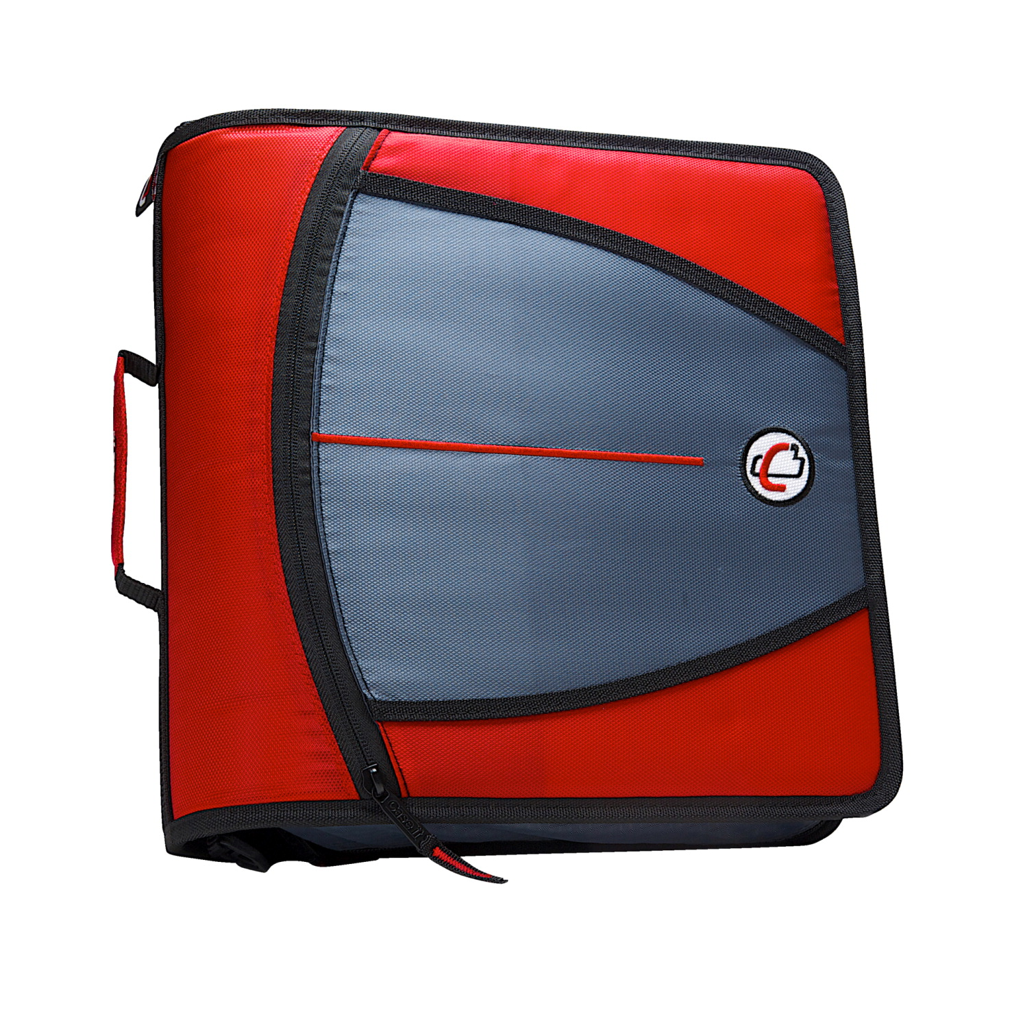 Case-It Mighty Zip Tab O-Ring Binder, Red, 3 Inches