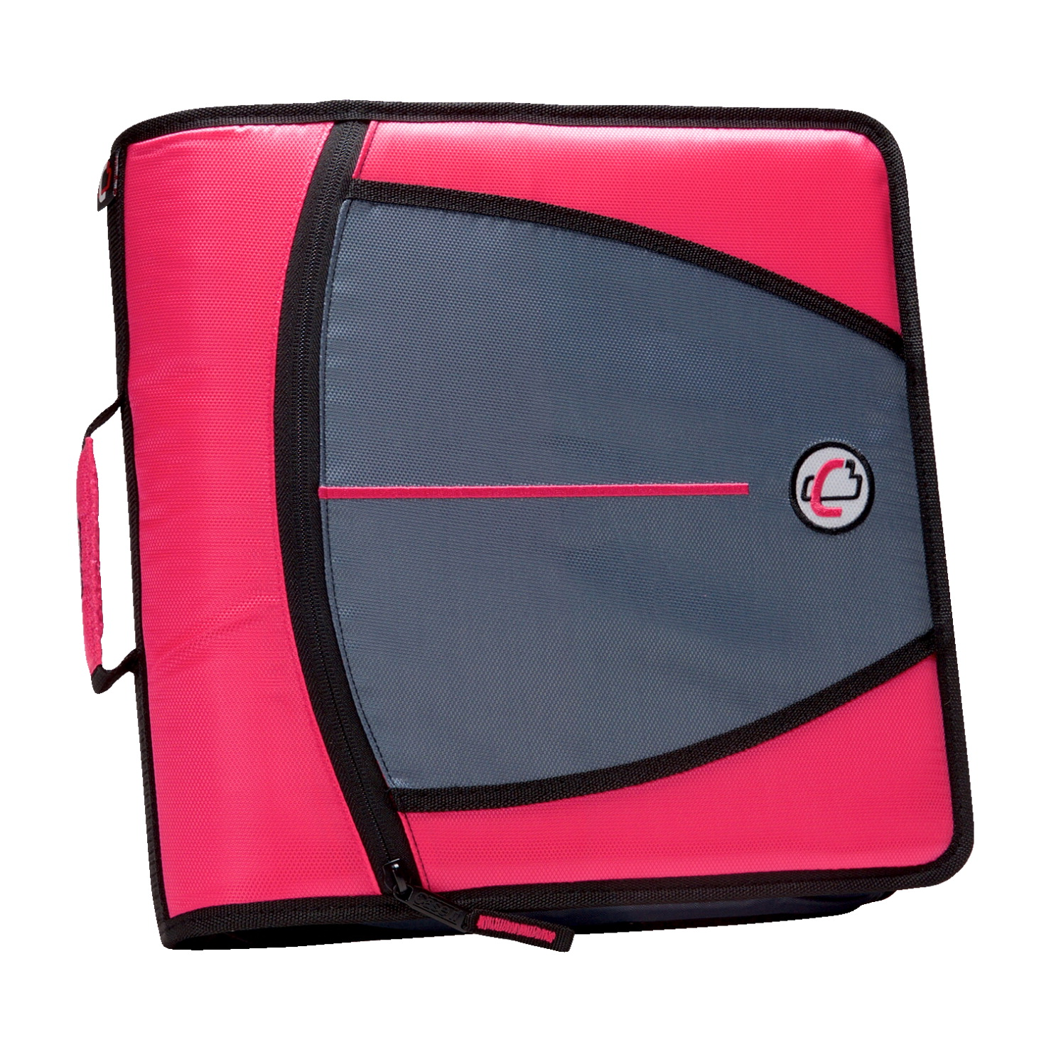 Case-It Mighty Zip Tab O-Ring Binder, Pink, 3 Inches