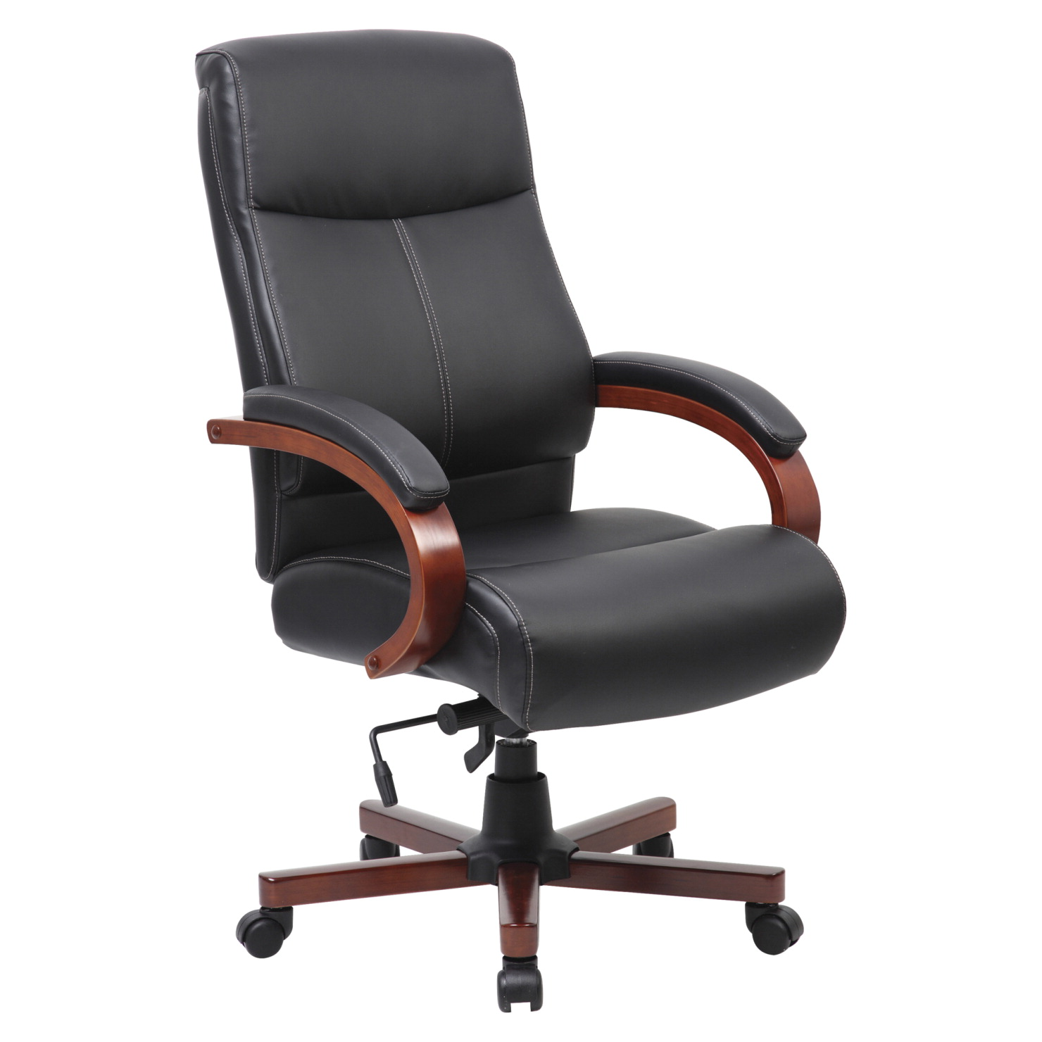 Enjoyable Lorell Executive High Back Leather Chair 27 X 31 X 47 Inches Black Mahogany Evergreenethics Interior Chair Design Evergreenethicsorg