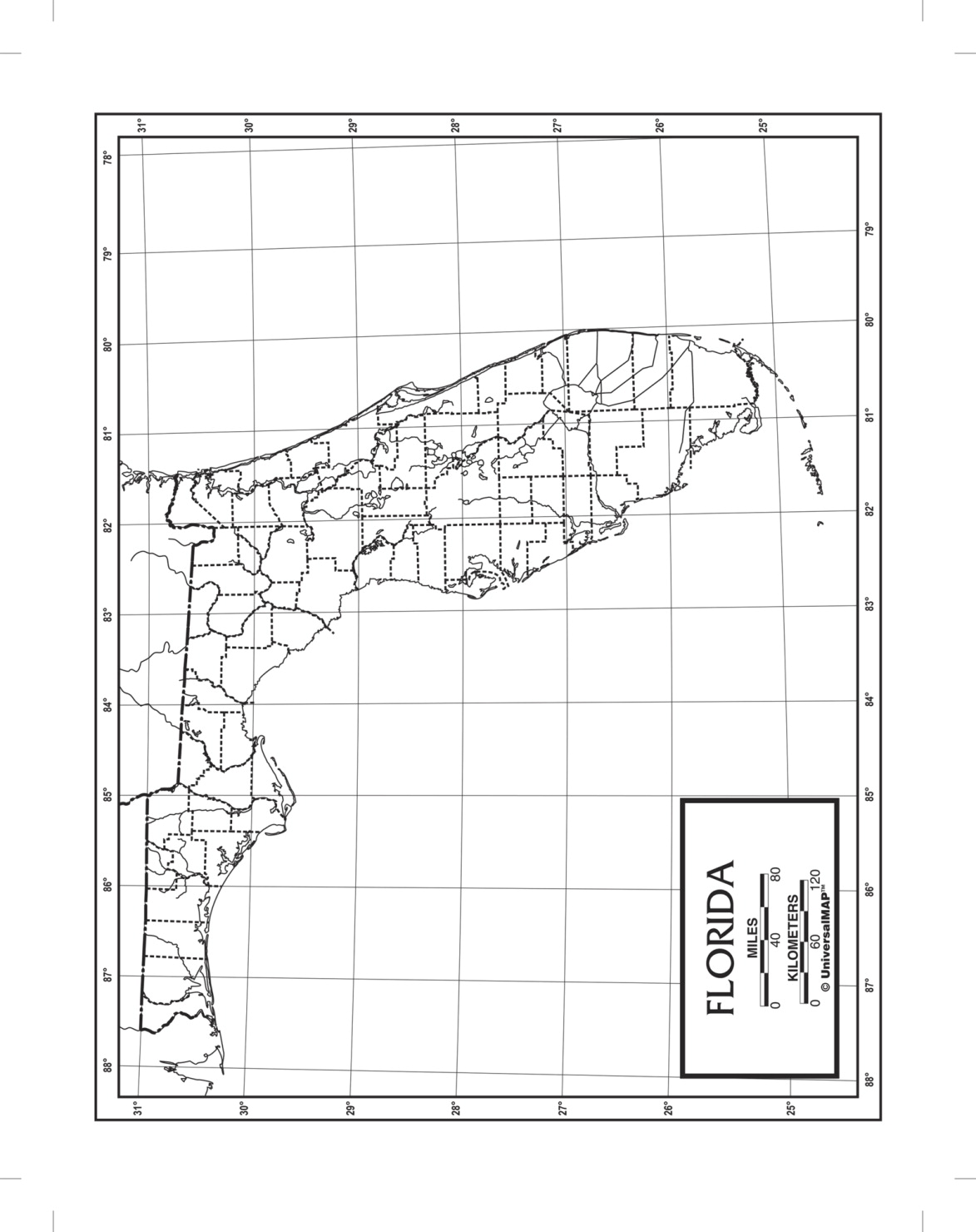 Kappa Map Florida Outline Map, Paper, 8-1/2 x 11 in, Pack