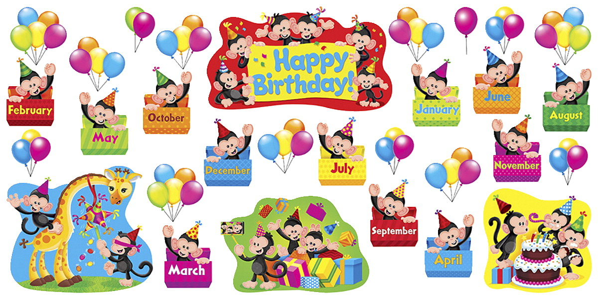 Trend Enterprises Monkey Mischief Birthday Bulletin Board Set