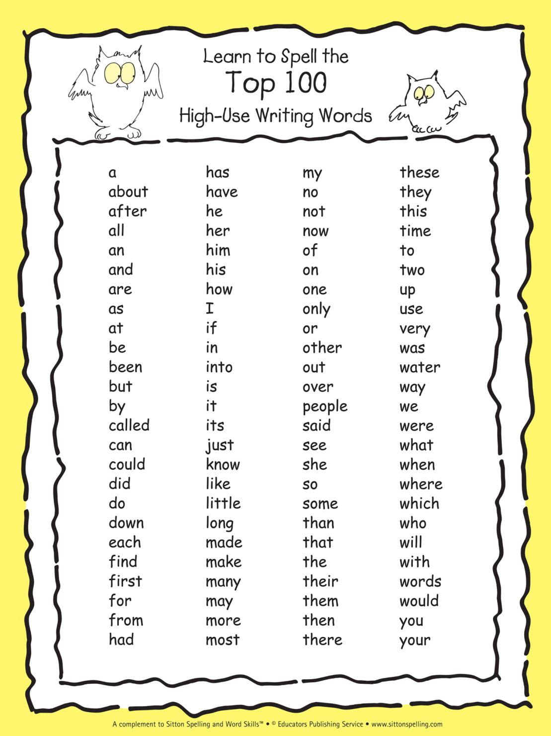 Sitton Spelling Top 100 Words, Set of 5