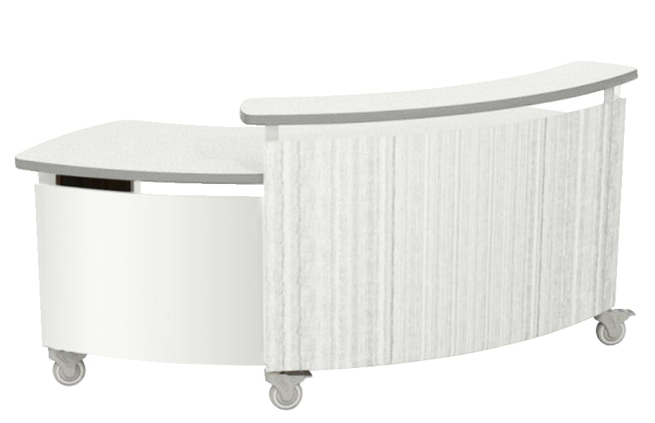 MediaTechnologies Nomad Desk Mobile, White Laminate Top and Edge, Satin Nickle Pull