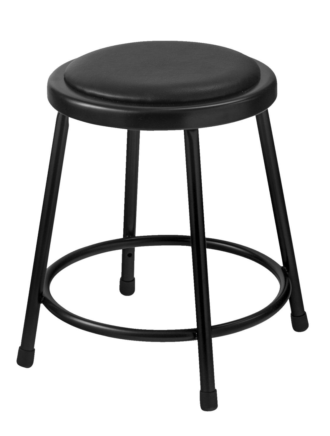 Peachy National Public Seating Heavy Duty Vinyl Padded Steel Stool 18 Inch Black Machost Co Dining Chair Design Ideas Machostcouk