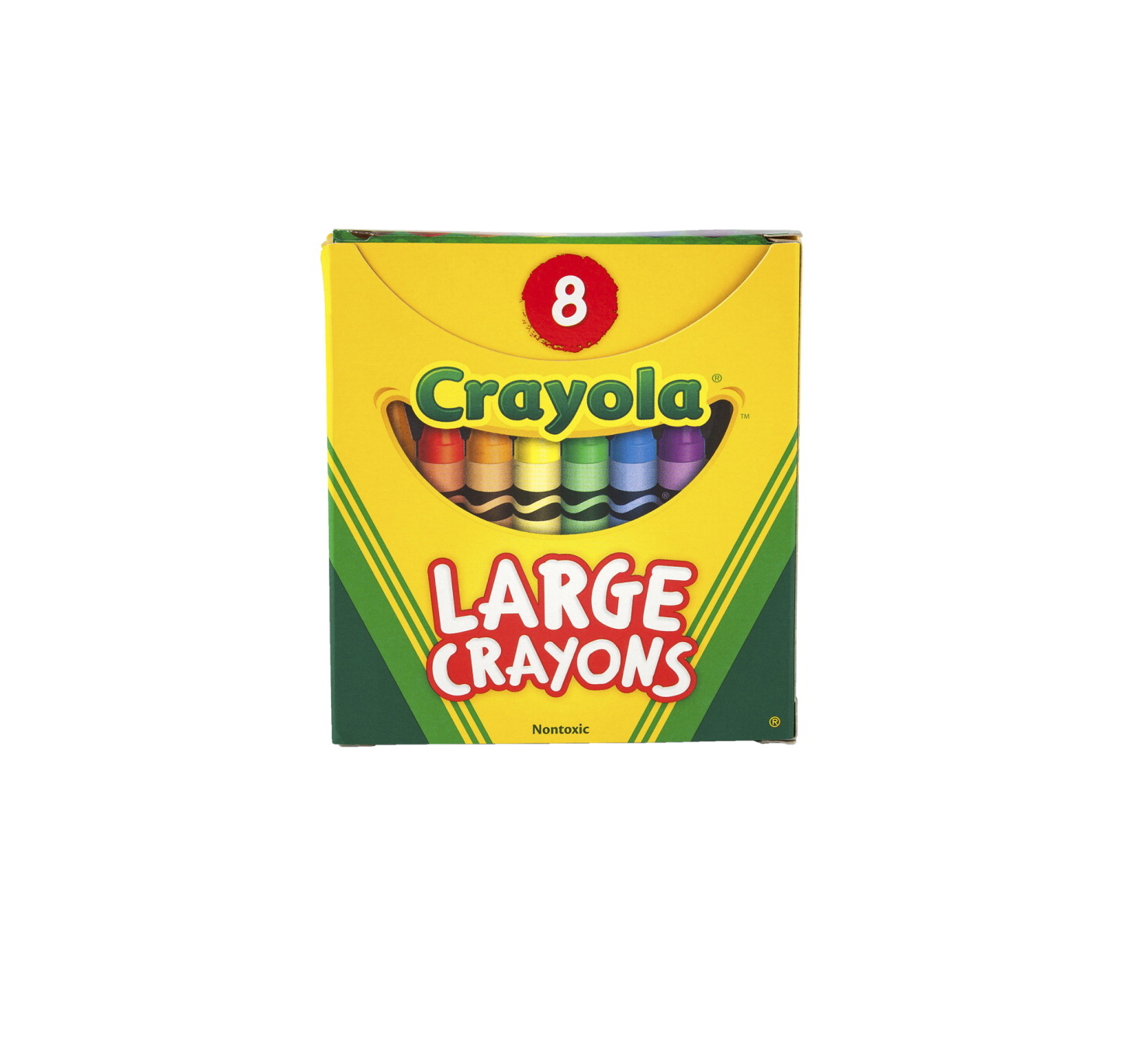 Crayola Large Non-Toxic Crayon in Tuck Box, 7/16 X 4 in, Assorted Color, Pack of 8