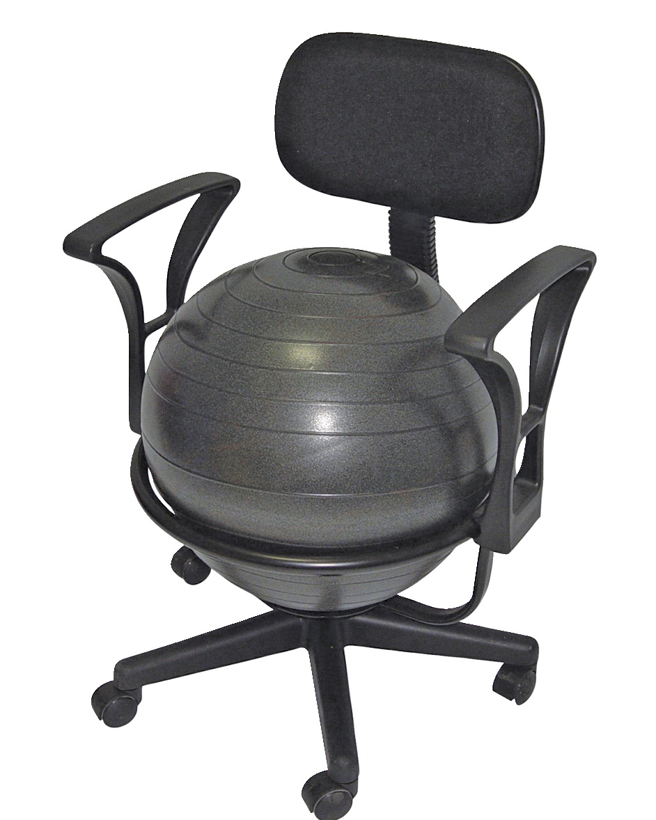 CanDo Ball Chair with Back and Arms, Metal, 18 Inch Ball, Black