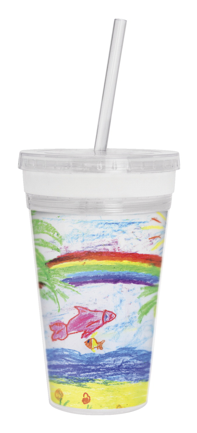 Thermo-Temp Photo Tumbler with Straw, 16 Ounces