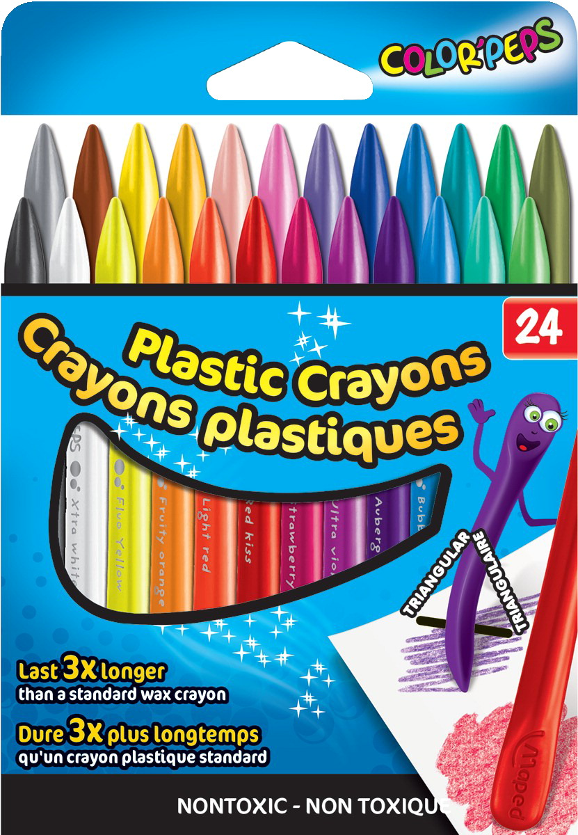 Maped Color\'Peps Plasticlean Crayons, Assorted Colors, Set of 24 ...