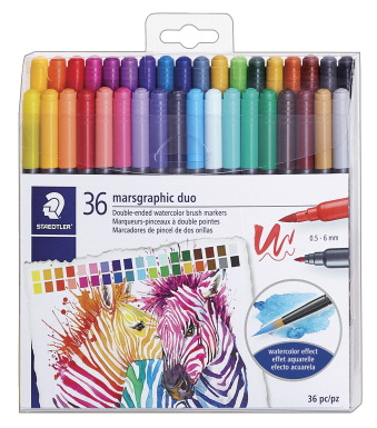 Staedtler Marsgraphic Dual Tip Watercolor Markers, Set of 36