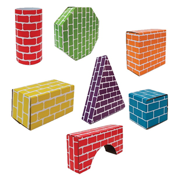 Edushape Corrugated Blocks and Shapes, Set of 45