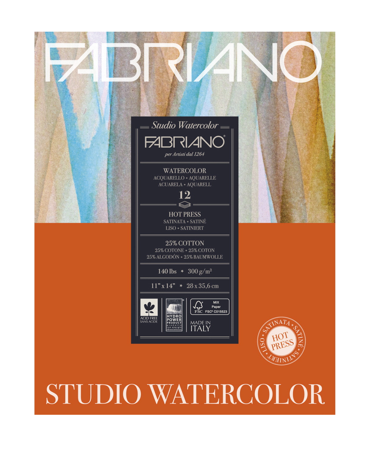 Fabriano Studio Watercolor Hot Press Pad, 11 x 14 Inches, 140 lb, 12 sheets