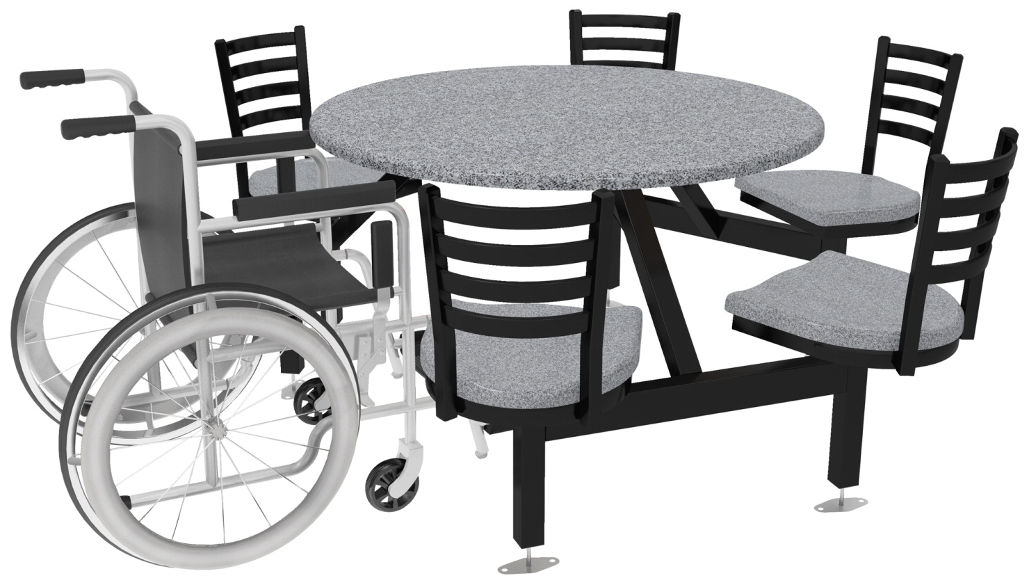 Palmer Hamilton Round Outdoor Table with Anchors, 5 Seats 1 Wheel Chair,  Various Options - Palmer Hamilton Round Outdoor Table With Anchors, 5 Seats 1 Wheel
