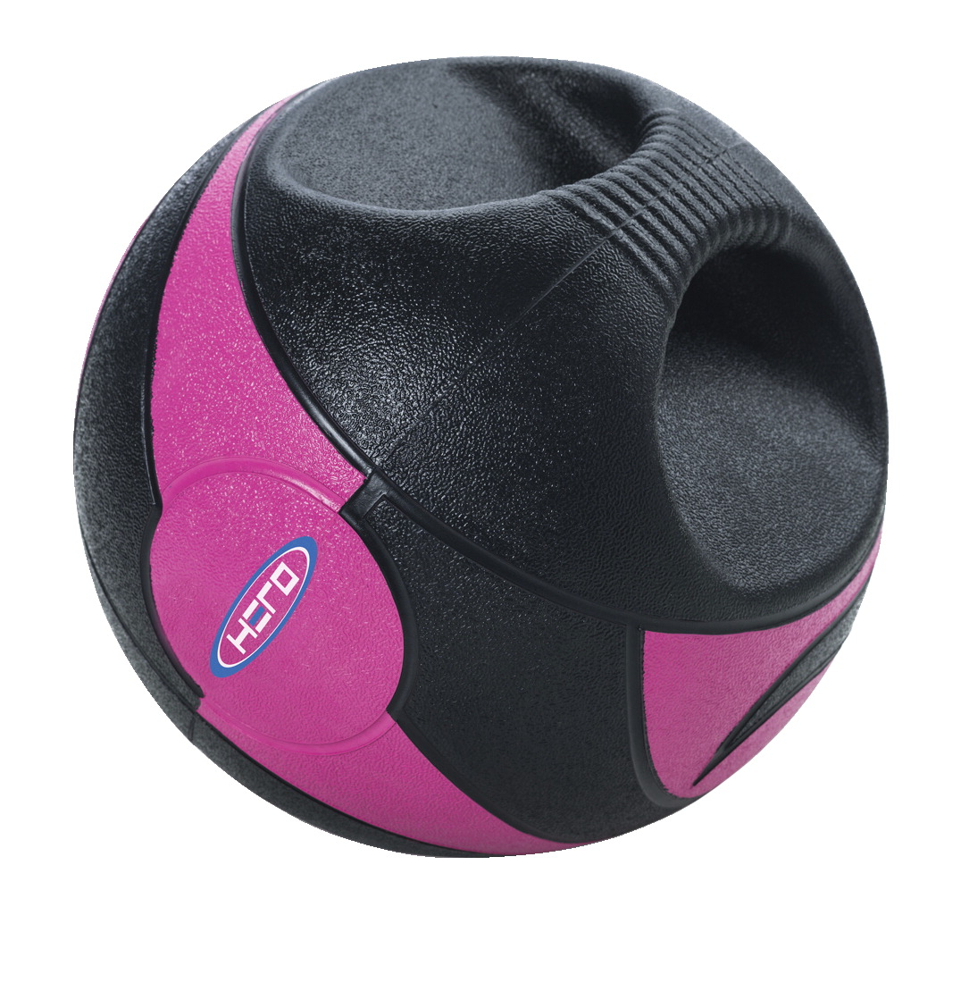 HERO Dual Handle Medicine Ball, 6 Pounds, Pink