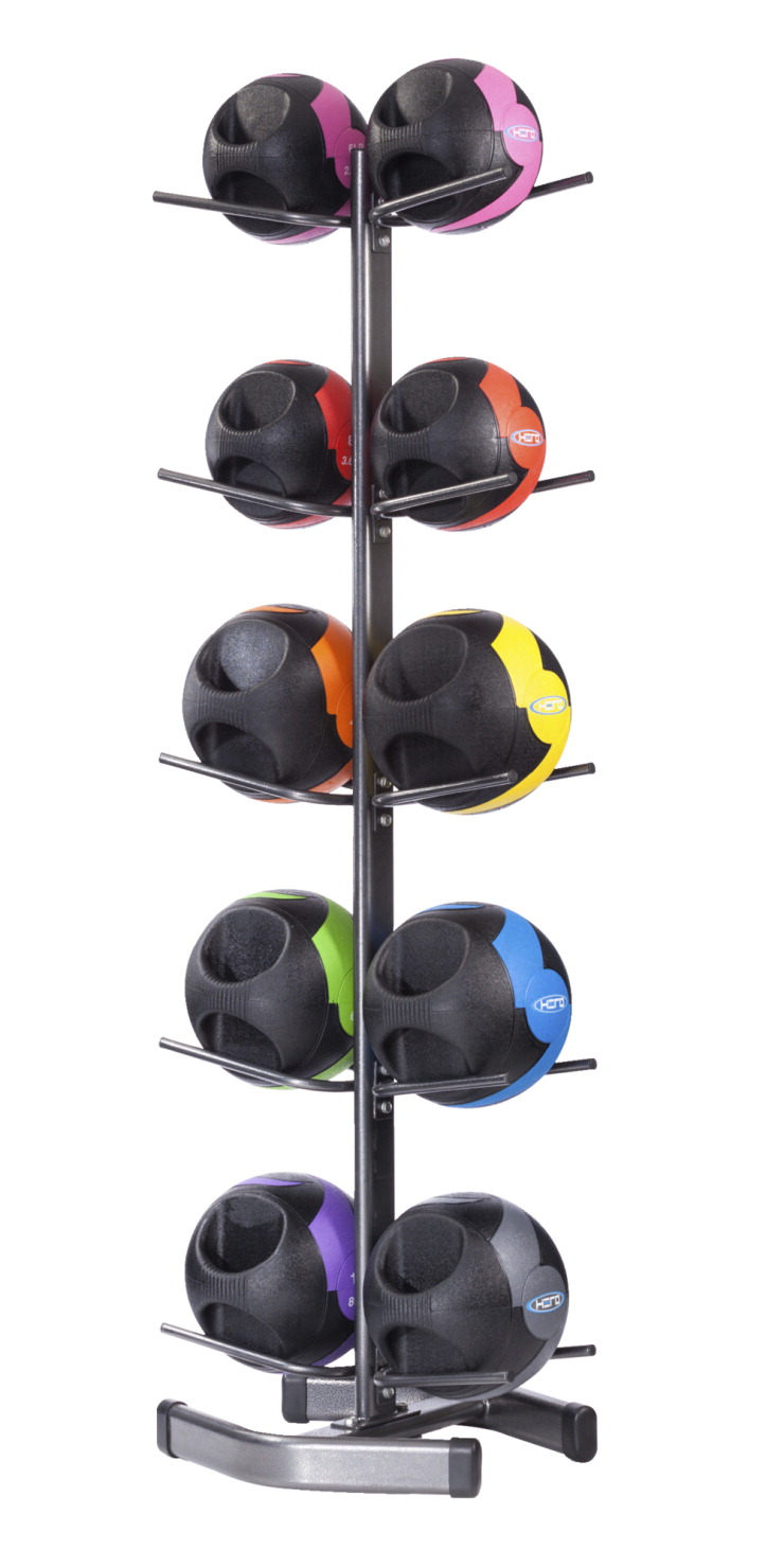 HERO Dual Handle Medicine Balls and Storage Rack, Assorted Colors, Assorted Weight,  Set of 10