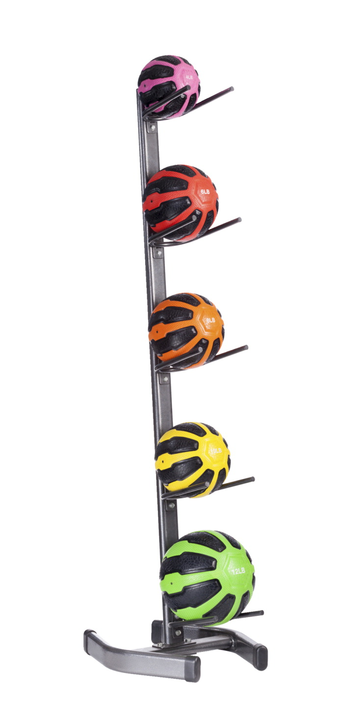 HERO Medicine Balls and Storage Rack, Assorted Colors, Assorted Weights,  Set of 5