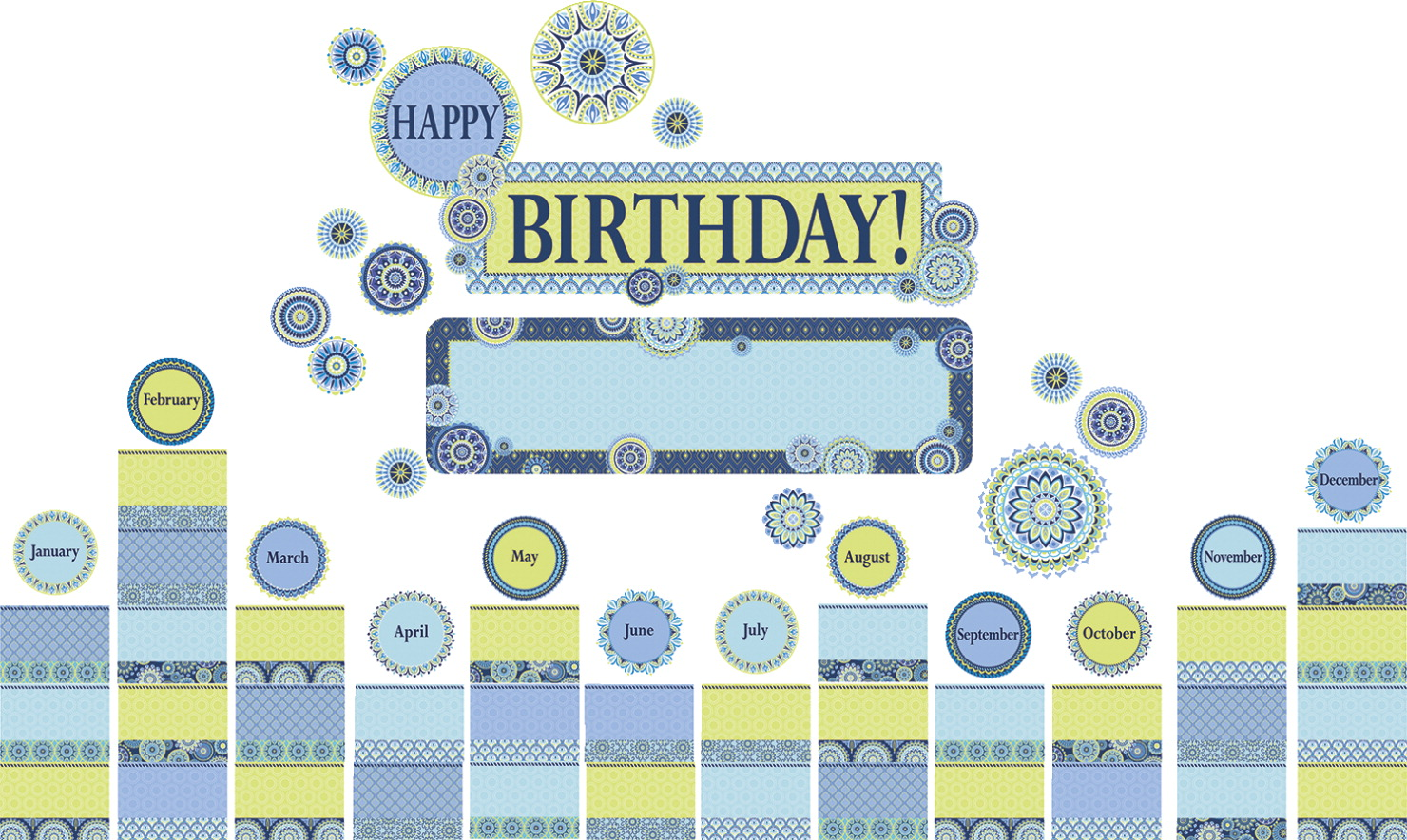 Blue Harmony Birthday Mini Bulletin Board Set, 61 Pieces