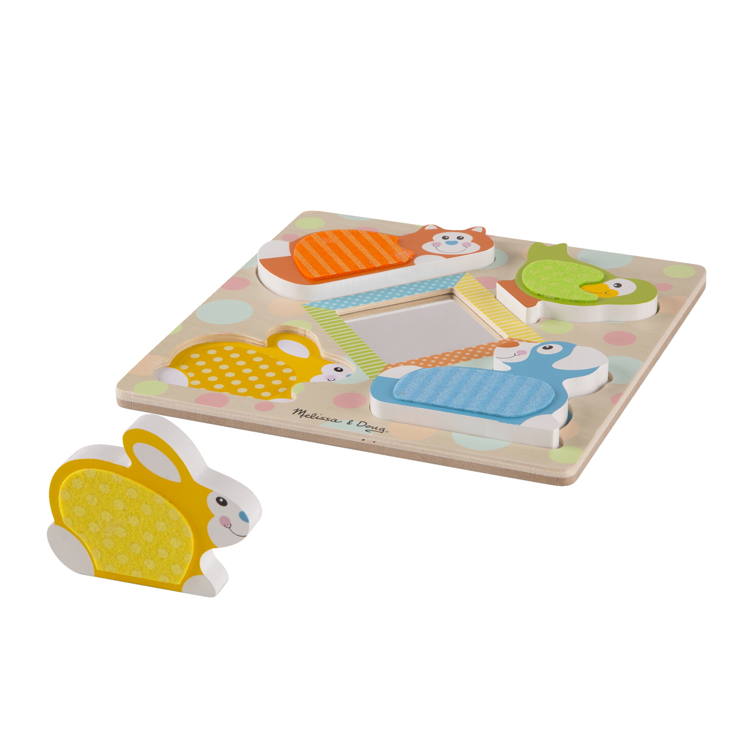 Melissa & Doug First Play Wooden Touch and Feel Peek-a-Boo Pets Puzzle