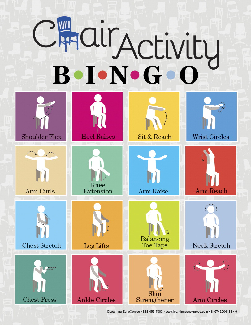 Learning Zone Express Chair Activity Bingo, Sit Down Exercises