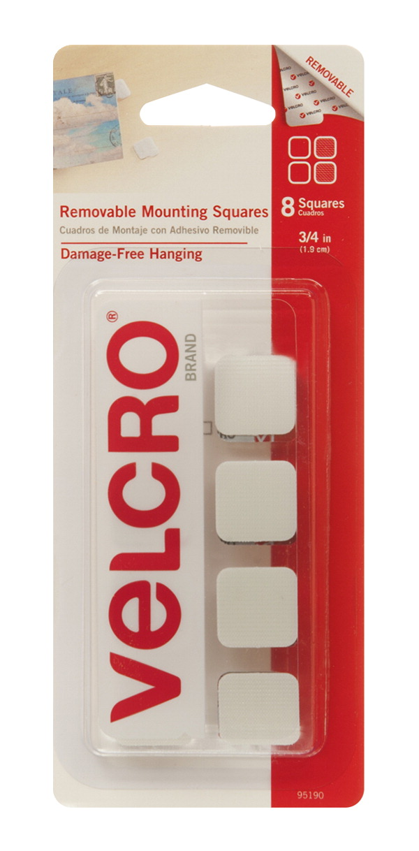 VELCRO Brand Removable Mounting Squares, 3/4 Inch Squares, White, Pack of 8