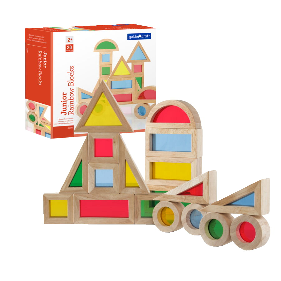 Guidecraft Jr. Rainbow Blocks, Set of 20