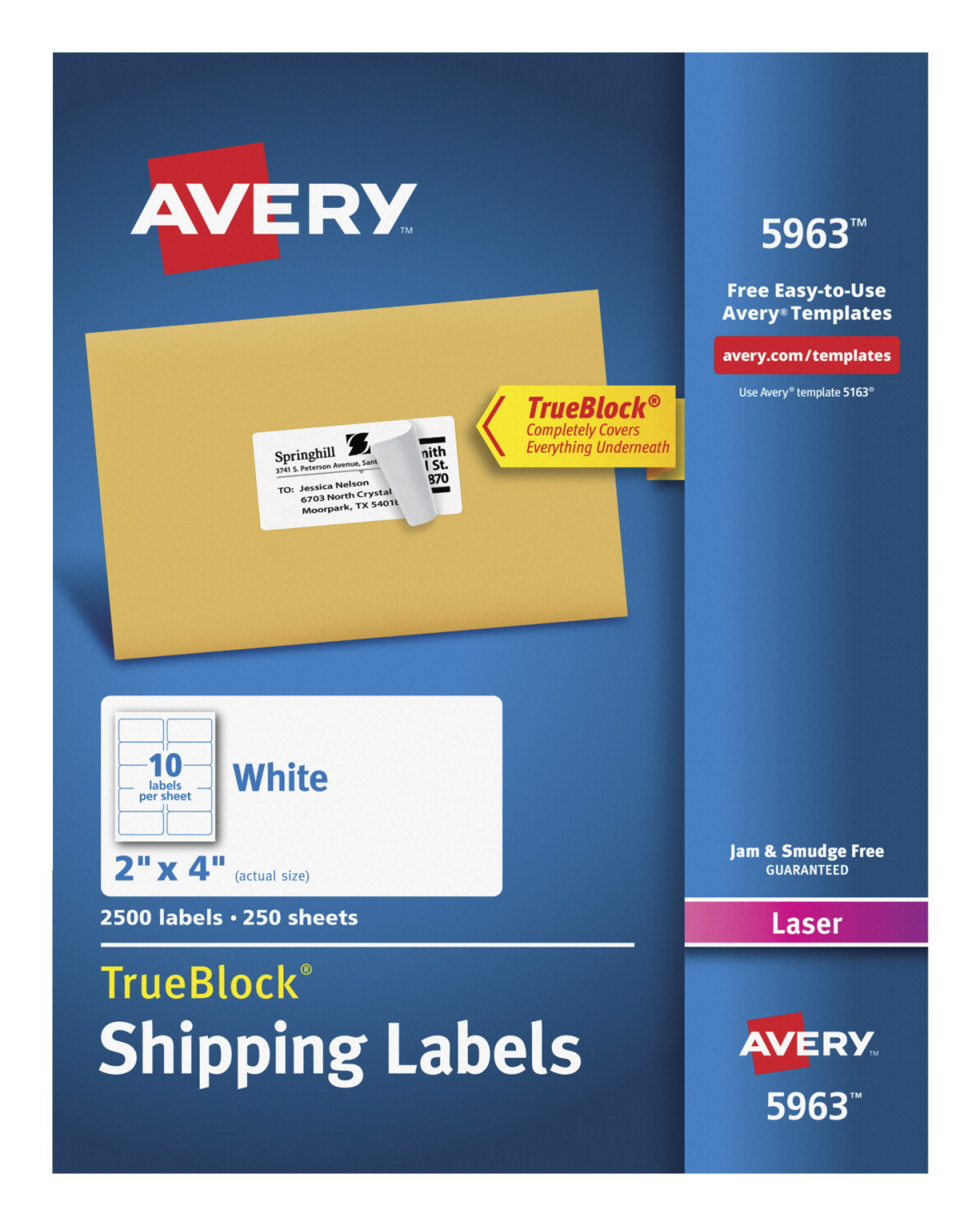 Avery 5963 shipping labels with trueblock white school specialty avery 5963 shipping labels with trueblock 2 x 4 inches white pack of saigontimesfo