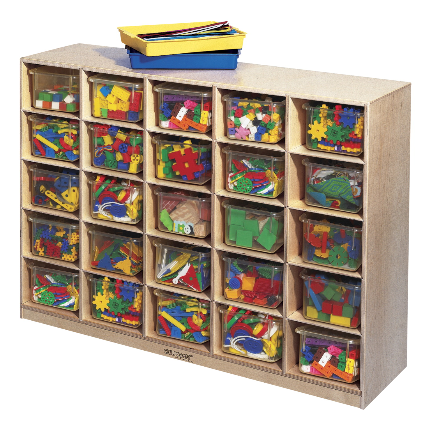 Childcraft Mobile Cubby with 25 Clear Trays