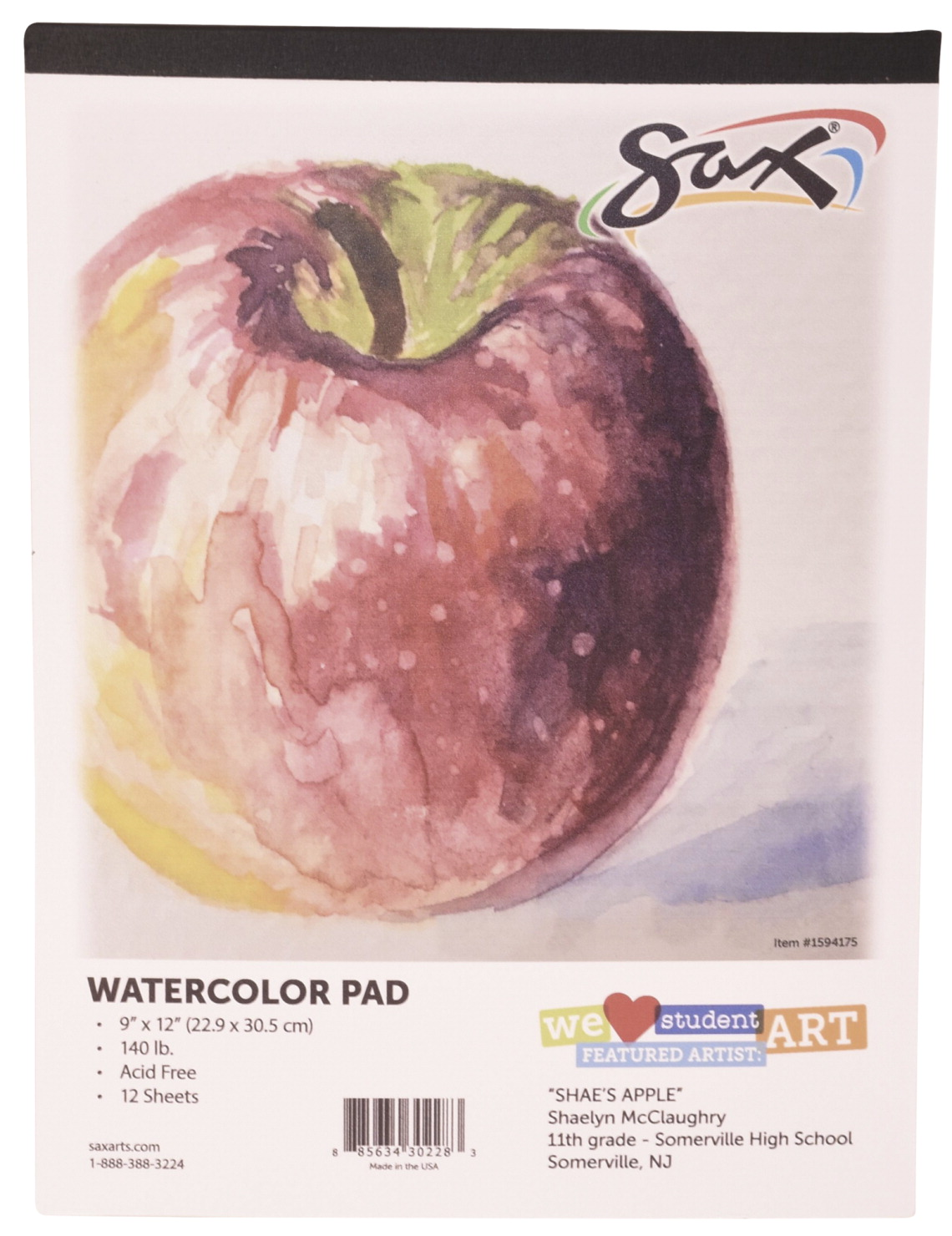 9 x 12 Inches Sax Watercolor Pad White 12 Sheets 140 lb