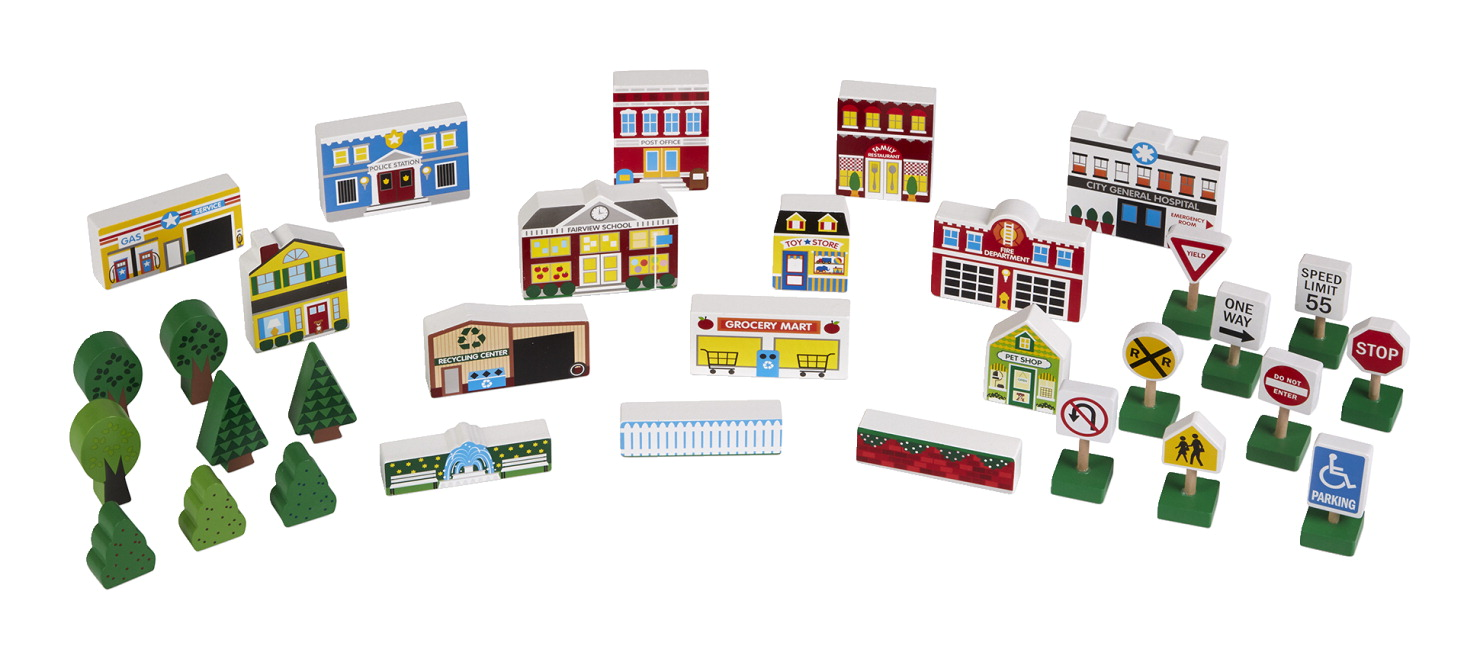 Melissa & Doug Wooden Town Play Set, 32 Pieces