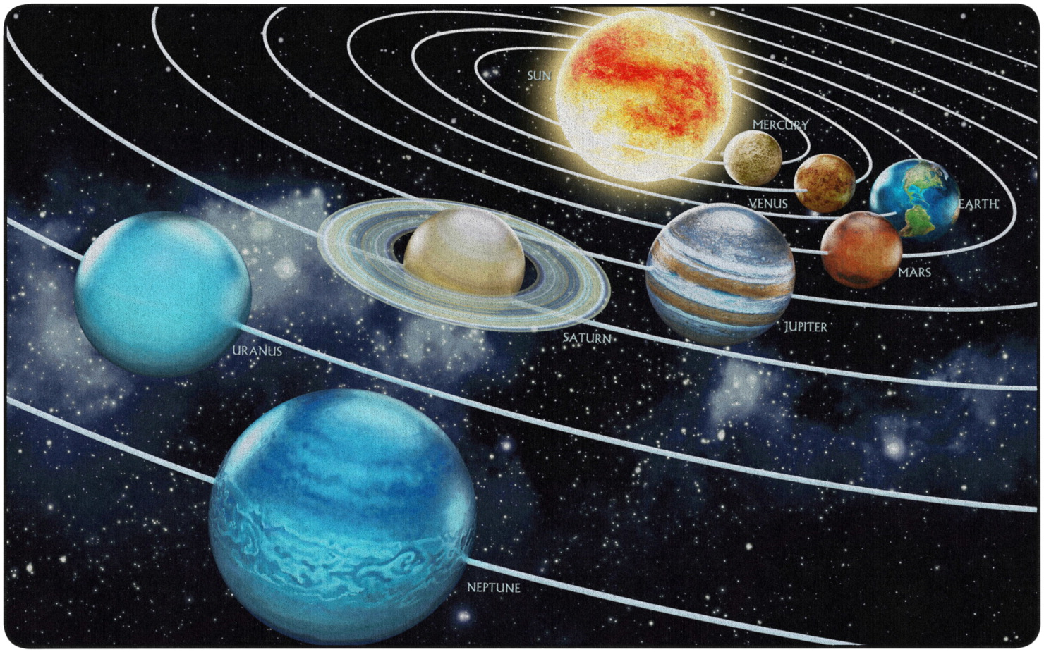 Flagship Carpets Traveling the Solar System Carpet, 6 Feet x 8 Feet 4 Inches, Rectangle