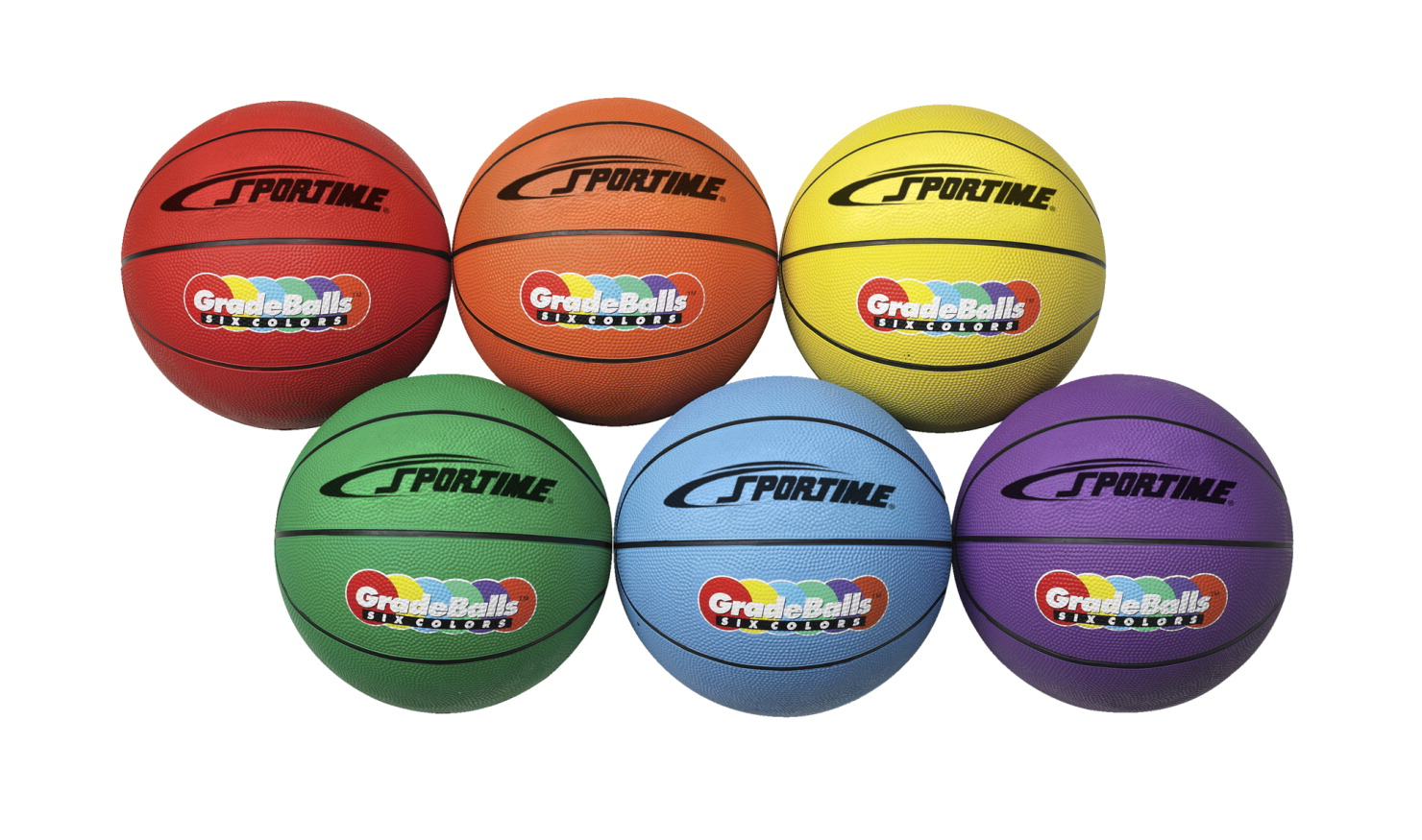 Sportime Gradeball Rubber Junior Basketballs, 27 Inches, Assorted Colors, Set of 6