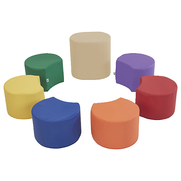 Factory Direct Partners SoftScape Crescent Stool Set with Teacher Stool, Set of 7, Various Options