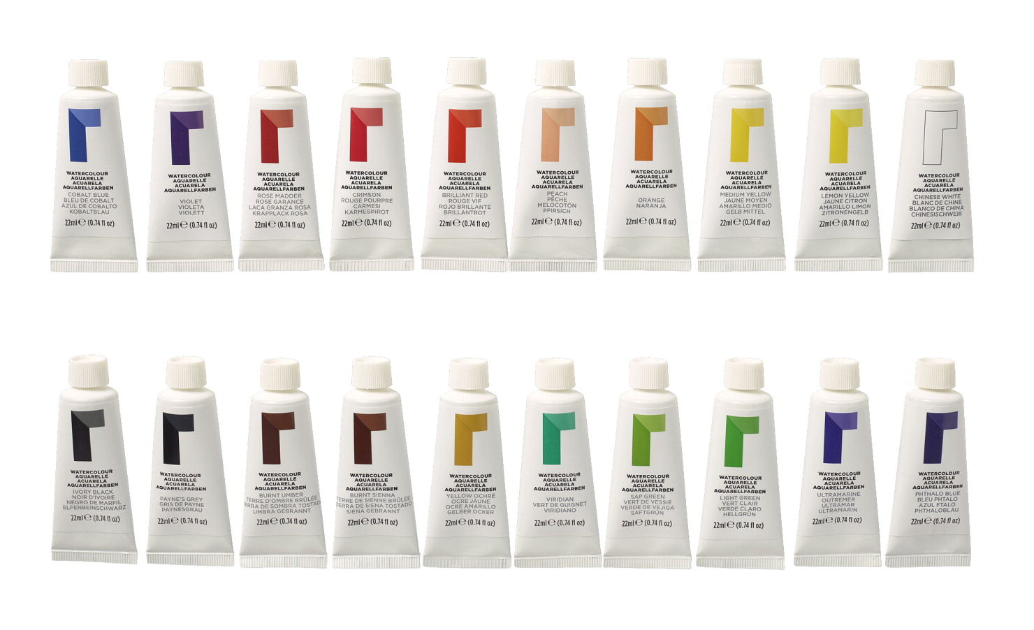 Reeves Watercolor Paints, 0 74 Ounce Tubes, Assorted Colors, Set of 20