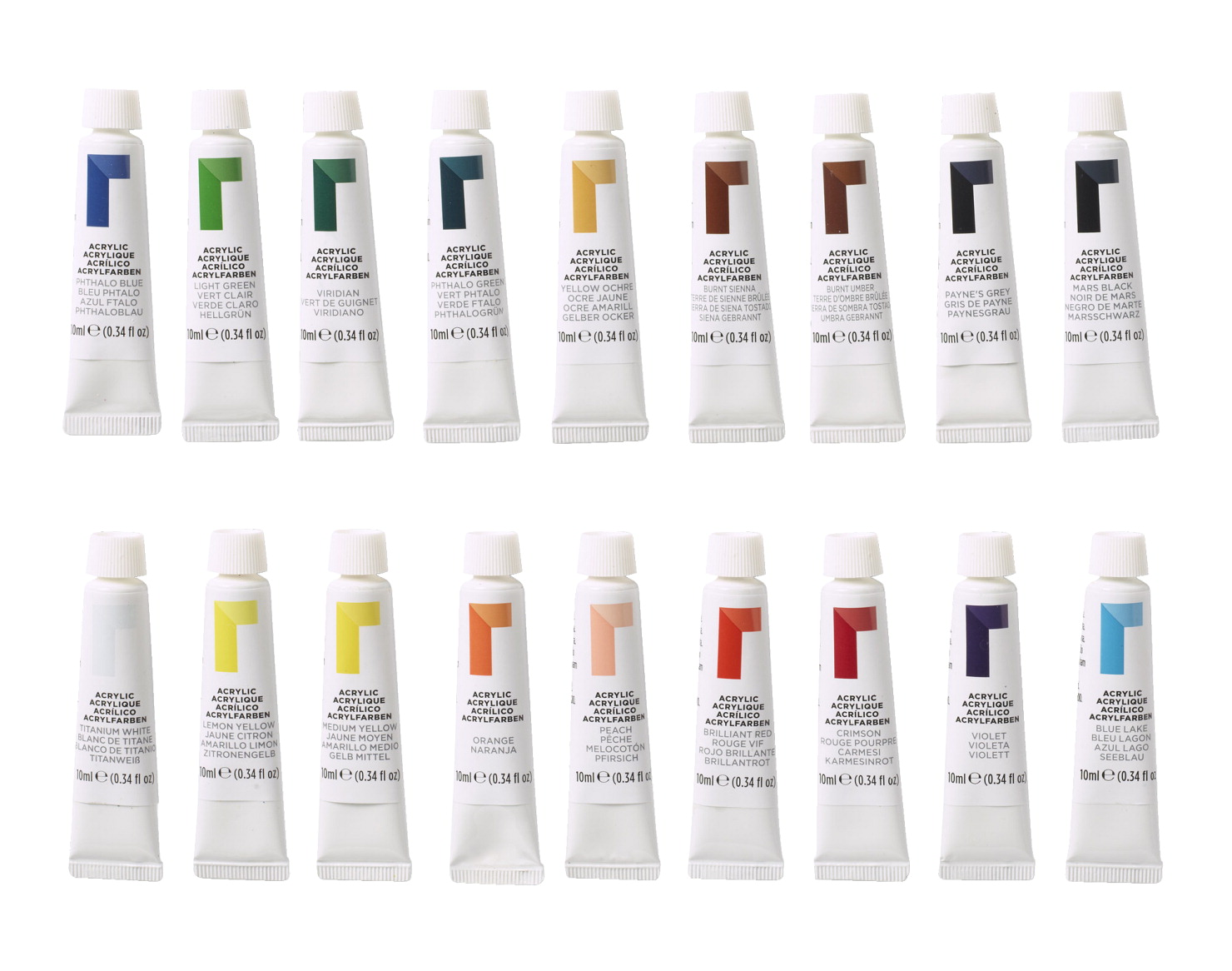 Reeves Acrylic Paints 0 34 Ounce Tubes Assorted Colors Set Of 18