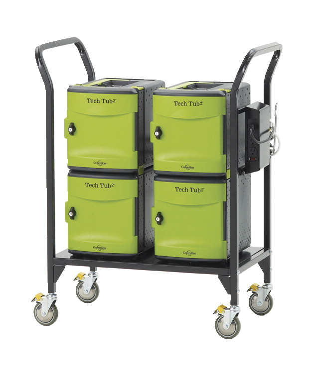Copernicus Tech Tub2 Modular Cart, Holds 24 Devices, Black and Green