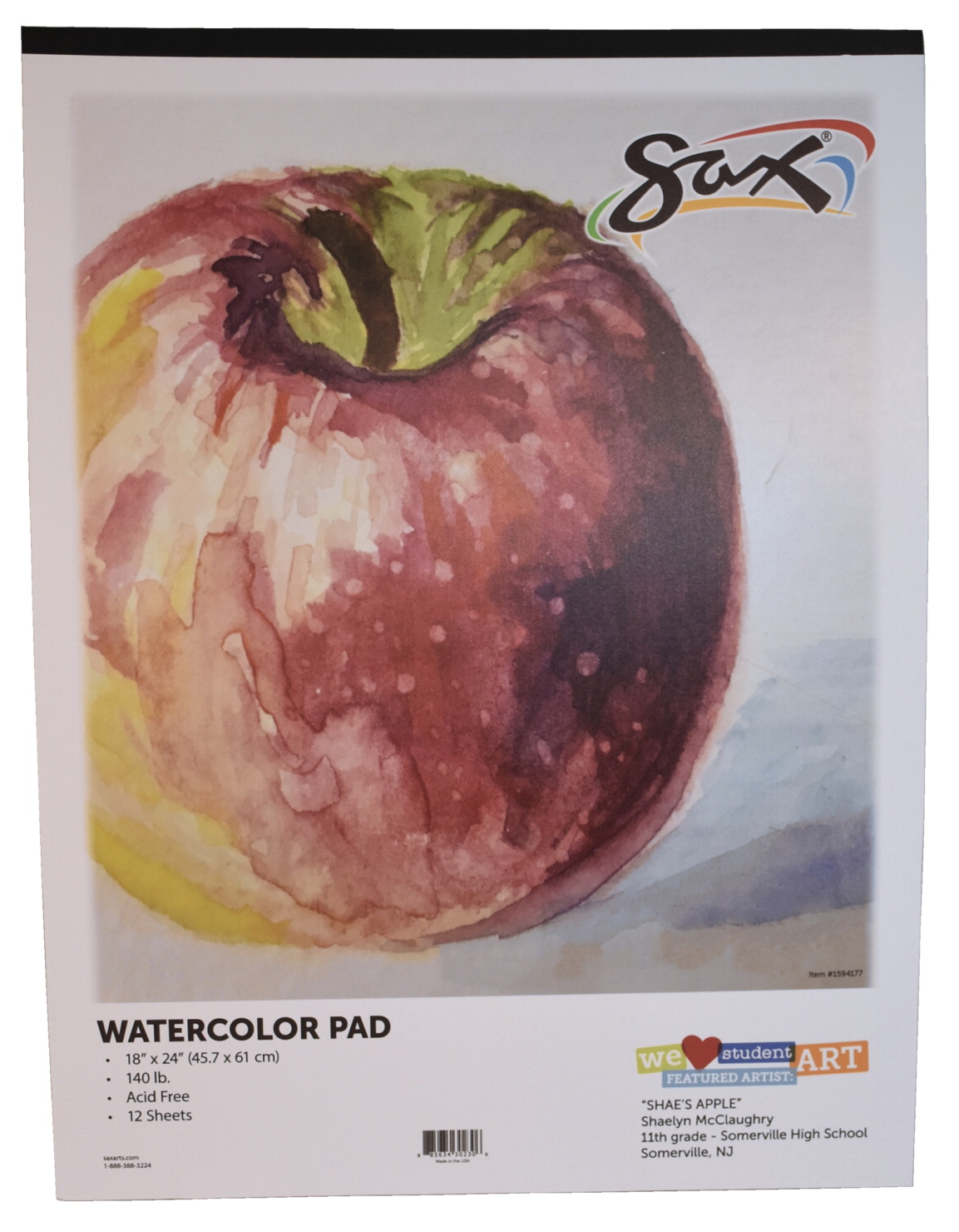 9 x 12 Inches 12 Sheets White 140 lb Sax Watercolor Pad