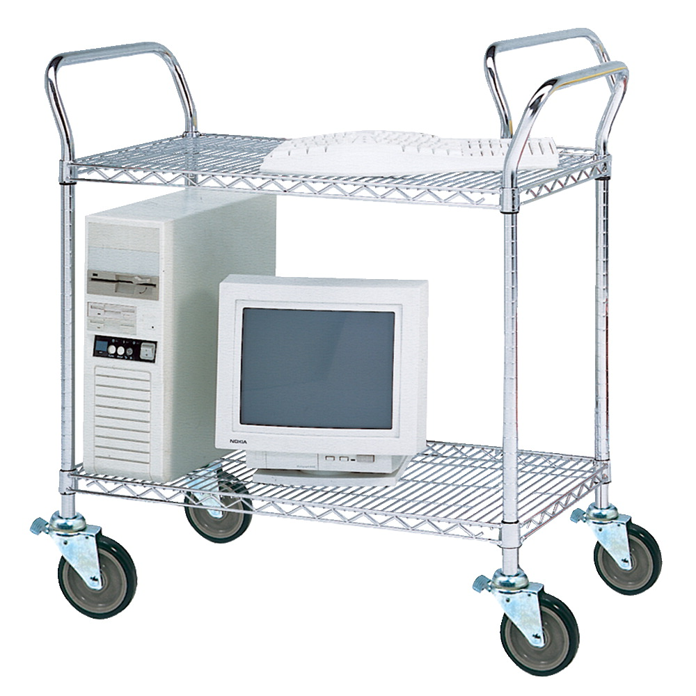 Jaken Wire Service Cart, 2 Shelves, 48 x 18 x 39 Inches, Chrome