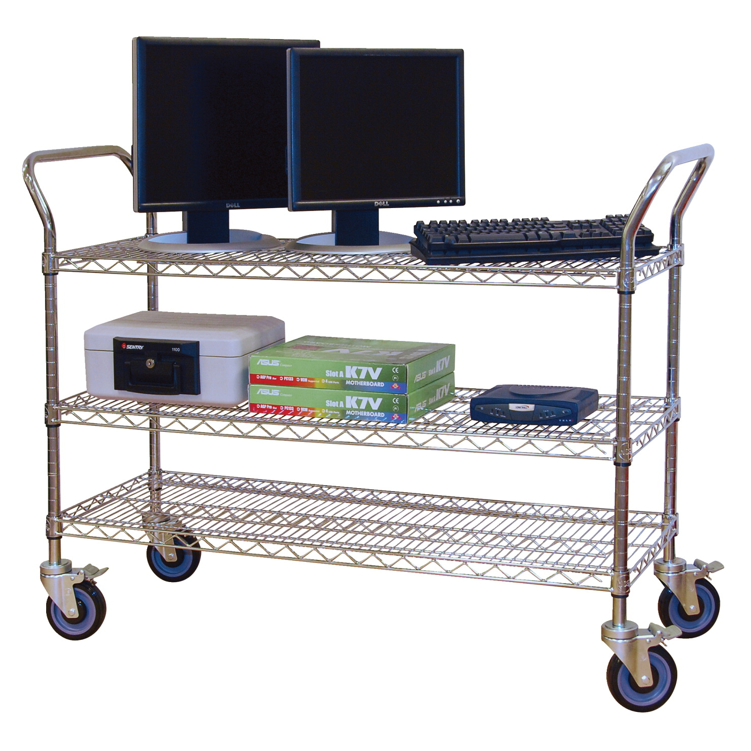 Jaken Wire Service Cart, 3 Shelves, 48 x 18 x 39 Inches, Chrome