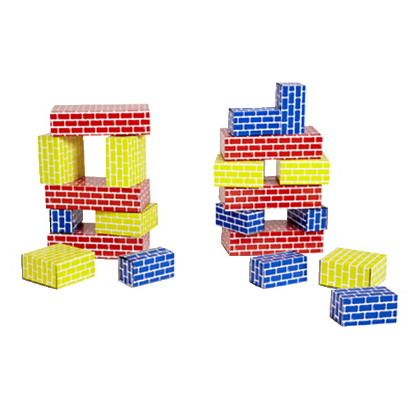 Childcraft Corrugated Blocks, Various Sizes, Primary Colors, Set of 36