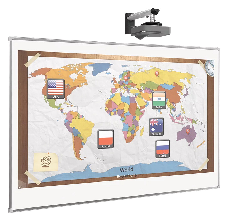 MooreCo Interactive Projector Board with Brio Trim, Standard Gloss White, 4 x 8 feet