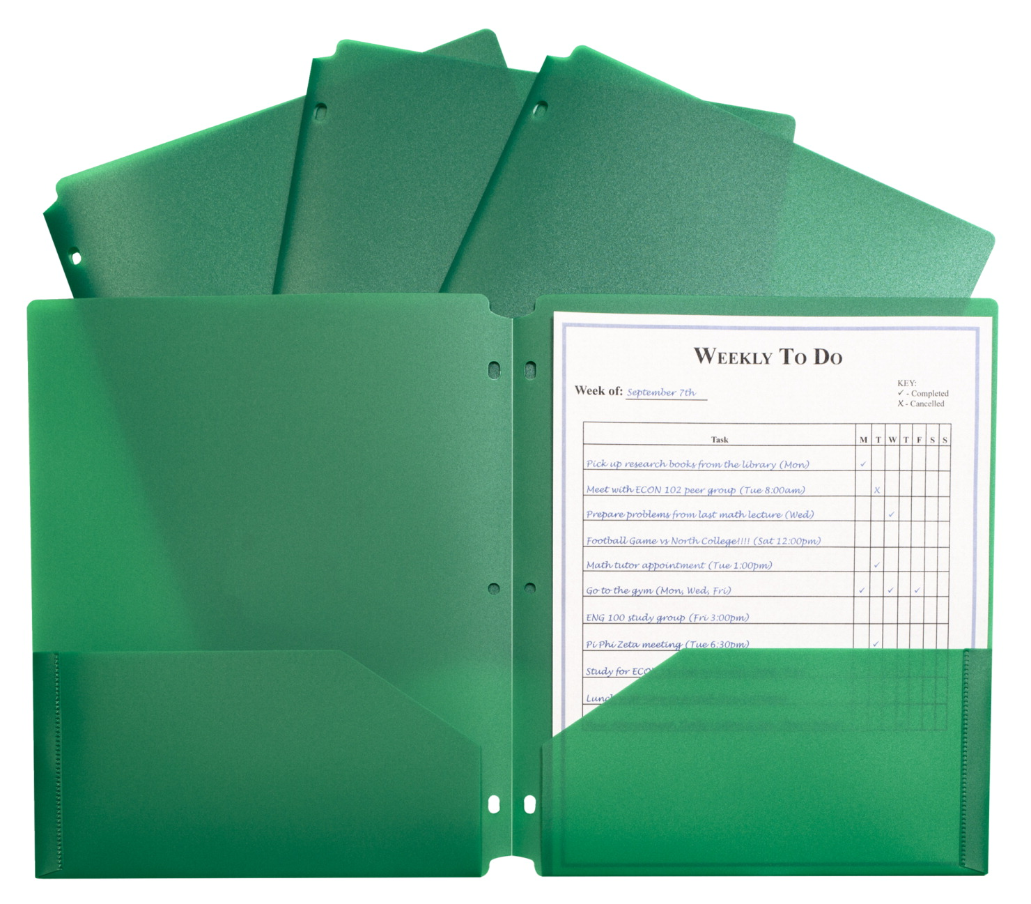 C Line Poly Portfolio Folders With 3 Hole Punch Letter 2 Pocket Green Pack Of 25