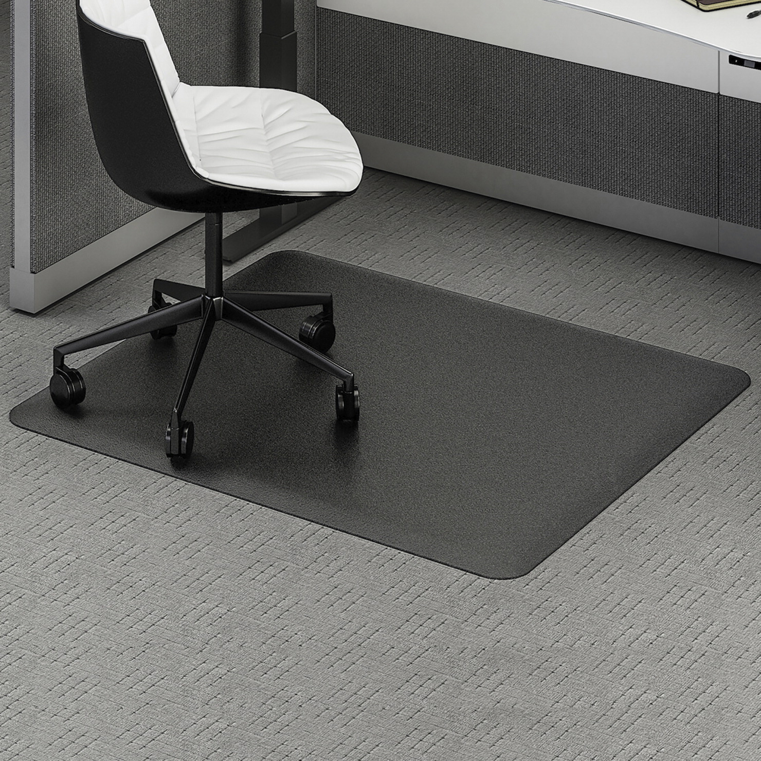 Deflecto Ergonomic Sit Stand Chairmat 45 X 53 Inches Black