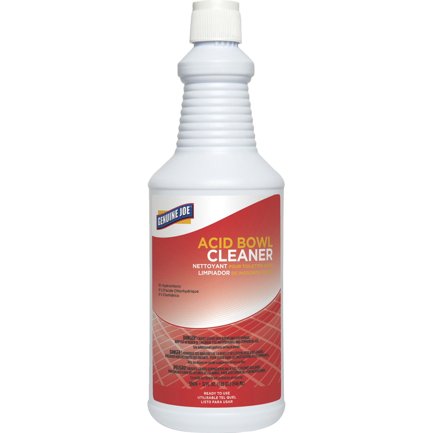 Genuine Joe Toilet Bowl Cleaner Hydrochloric Acid 32 Oz Aqua Blue
