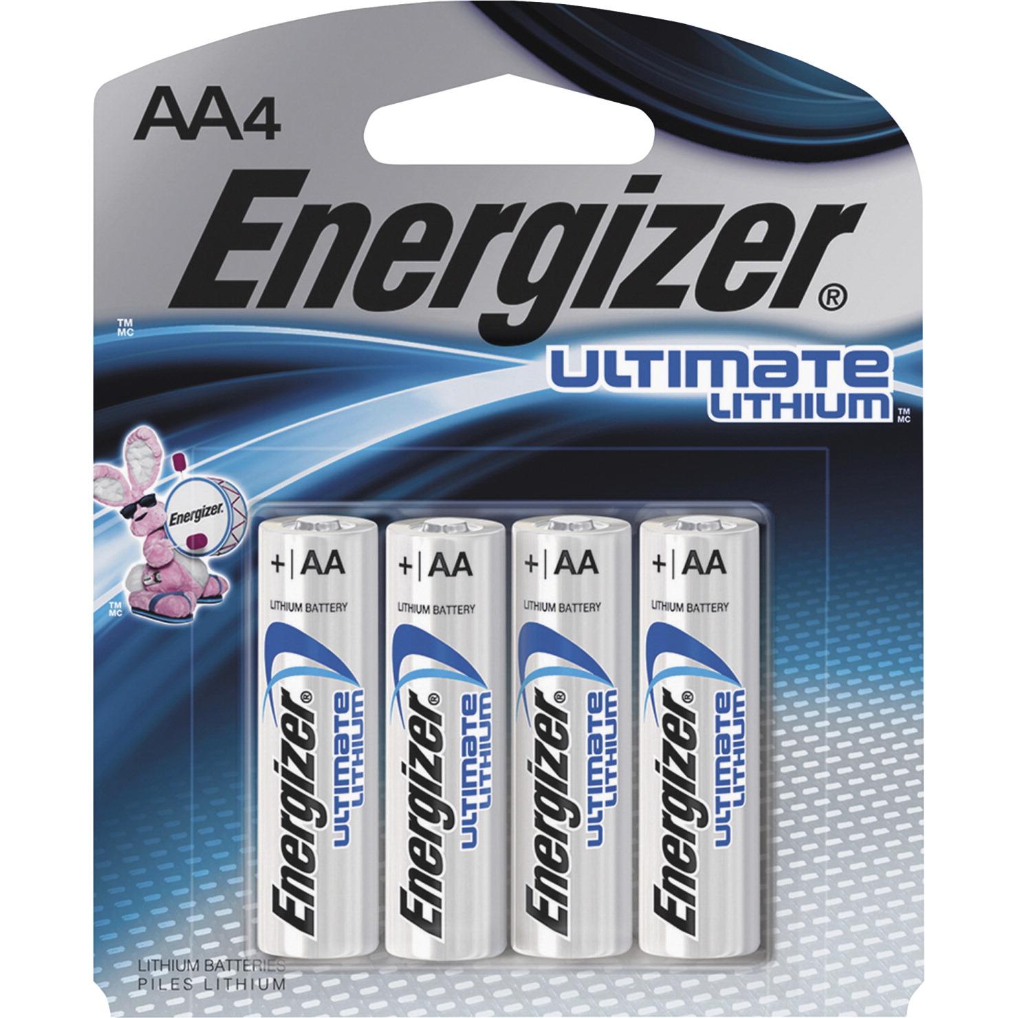 koop online hoogwaardige sportkleding groothandel Energizer Ultimate L91SBP, 4 General Purpose AA Batteries, 3000 mAh,  Lithium Iron Disulfide, 1.5 Volts