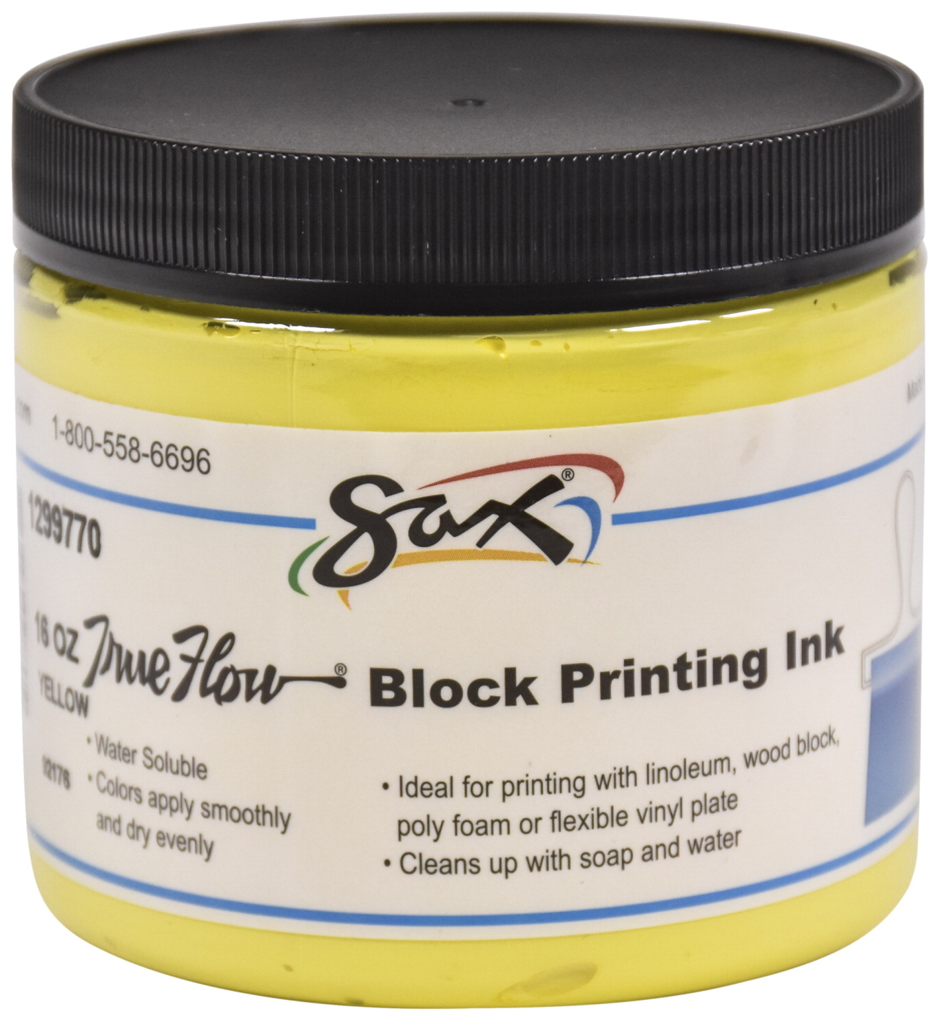 Sax True Flow Water Soluble Block Printing Ink, 1 Pint Jar, Primary Yellow