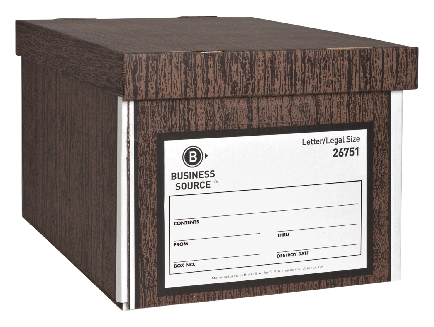 Business Source Storage Boxes, w/Lid, Letter/Lgl, 650 lb, 10 x 12 x 15  Inches Pack of 12, WN