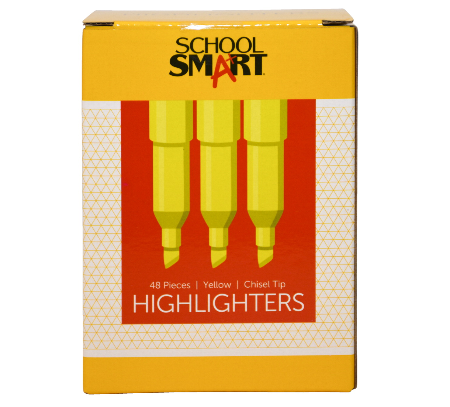 School Smart Highlighter, Chisel Tip, Pen Style, Yellow, Pack of 48