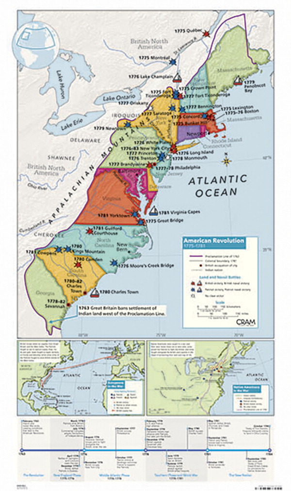 American Revolution Map Cram American Revolution Map   SOAR Life Products