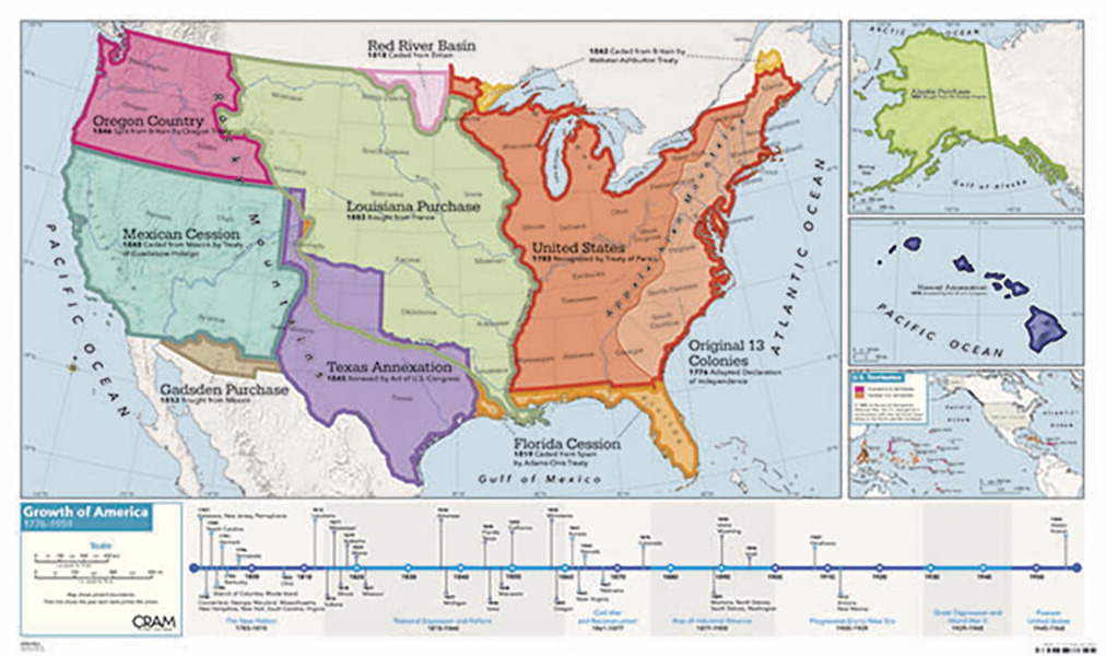 Cram Growth of The United States of America Map, 32 x 54 Inches