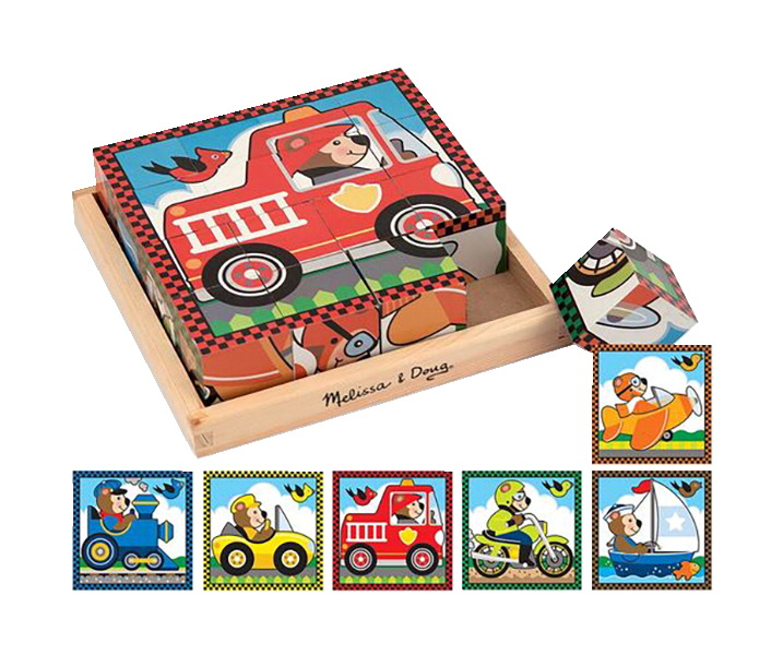 Melissa & Doug Vehicles Cube Puzzle, 16 Pieces with Storage Tray